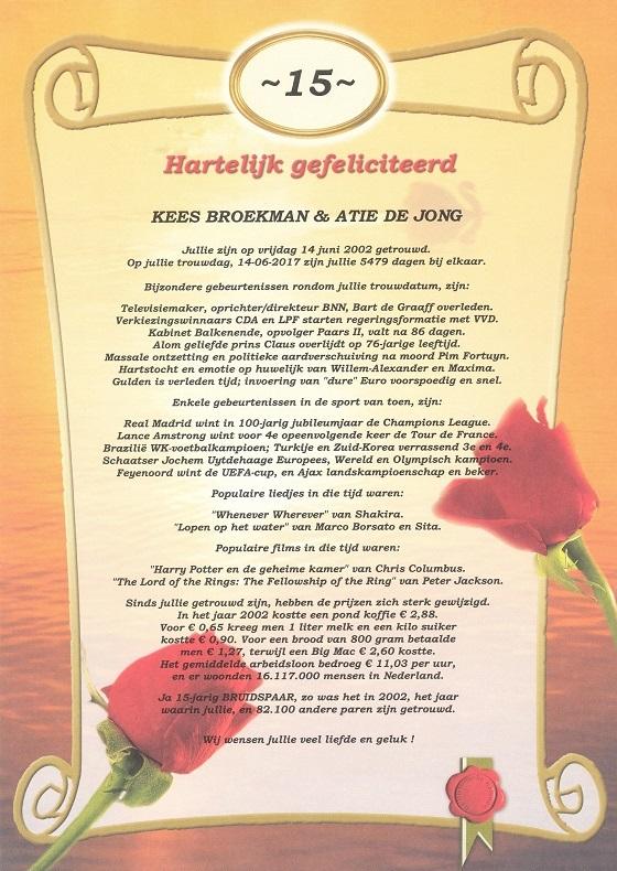 15 jarig huwelijk Oorkonde 15 Jarig Huwelijk   Historische kalenders 15 jarig huwelijk