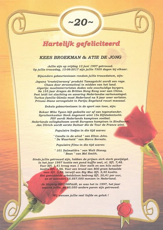 20 jarig huwelijk Oorkonde 20 Jarig Huwelijk   Historische kalenders 20 jarig huwelijk