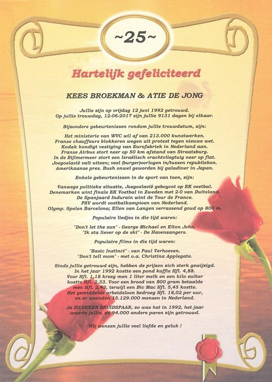 25 Jarig Huwelijksjubileum
