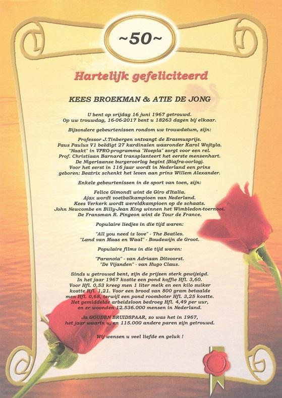 Bedwelming Oorkonde 50 Jarig Huwelijk - Historische kalenders @BY12