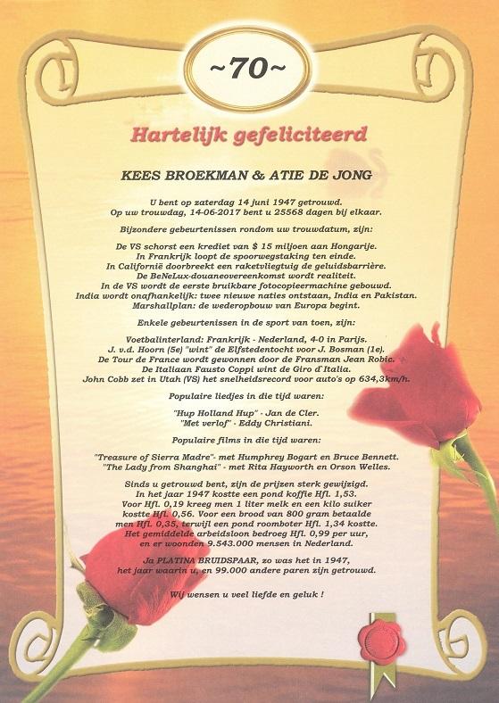 70 jarig huwelijk Oorkonde 70 Jarig Huwelijk   Historische kalenders 70 jarig huwelijk